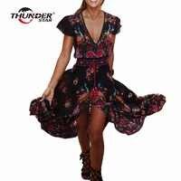 Vestido bohemio de verano para Mujer estampado étnico Sexy Retro Vintage vestido borla playa vestido bohemio Hippie Vestidos bata Mujer LX4