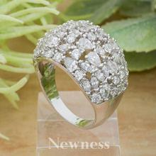 Newness Super Sparkling Vogue Cubic Zirconia Silver Color Copper Wedding Engagement Rings Jewelry For Women