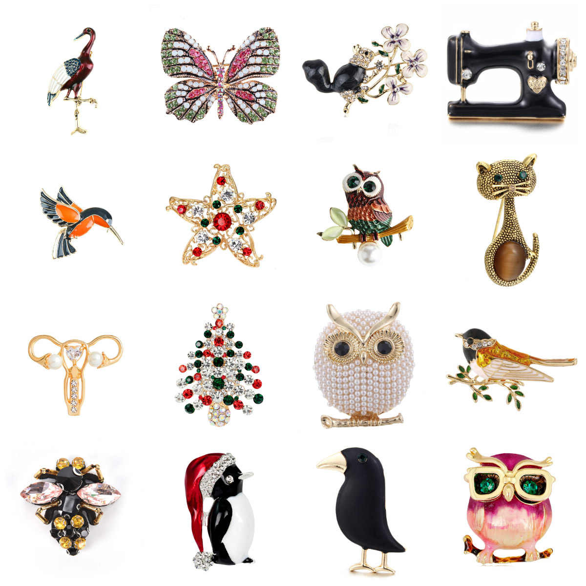 Fashion Buatan Tangan Lucu Burung Parrot Pin Bros untuk Wanita Enamel Pin Crystal Hewan Bayi Burung Bros Pin Perhiasan Natal