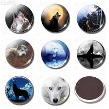 3PCS/SET Wolf and Moon Fridge Magnet 30 MM Glass Dome Animal Refrigerator Magnets Sticker Memo Message Kitchen Home Accessories