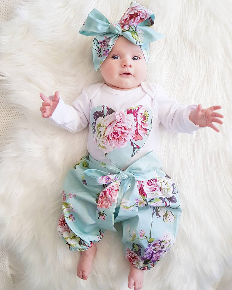 2020 Newborn Kid Baby Girl Clothes Set Floral Long Sleeve ...