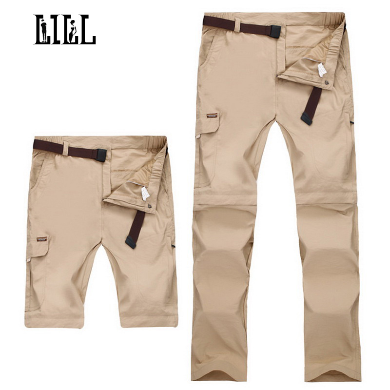 LILL | 7XL Pantalones extraíbles de secado rápido para hombre Pantalones de viaje de verano 2017 Caqui negro Pantalones casuales de hombre Pantalones de chándal Joggers