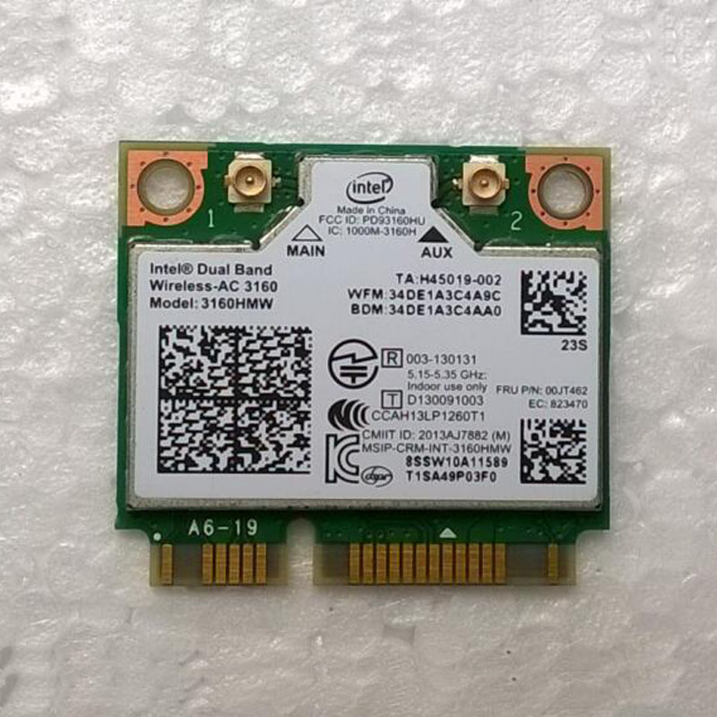 Int Dual Band Wireless-AC 3160 802.11a/b/g/n/ac & Bt 4.0 Combo Card  For Lenovo M30-70 M40-70 Series, FRU 00JT462 SW10A11589