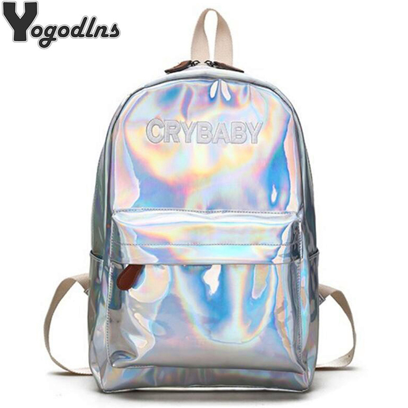 Laser Backpack Casual Travel Bags Women Girls Rucksack PU Leather Holographic Knapsack School Bags For Teenage Girls