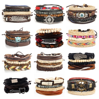 HOT 4pcs 1 Set And 12set A Lot Punk Genuine Wrap Feather Leather Bracelets Men For