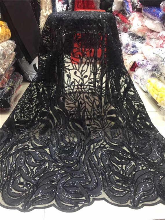 2019 Высококачественная африканская кружевная ткань золото, Розовый Черный французская сетчатая вышивка Тюлевое кружево с пайетками ткань для нигерийских вечерние платья