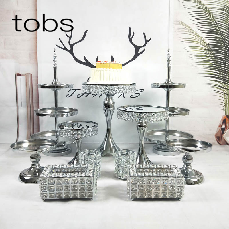 3 Tier Birthday And Wedding Cupcake Dessert Display Plate Crystal Decoration Set Metal Pop Cake Stand Or Rack