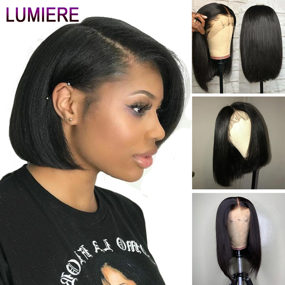 Lumiere Hair Lace Front Human Hair Wigs Indian Bob Wig Remy Short Human Hair Wigs With