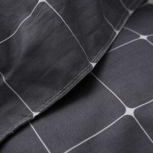Image 5 - Solstice Home Textile Dark Gray Bedding Set Geometric Plaid Simple Duvet Cover Pillowcase Adult Teenage Man Bed Linen No Sheet