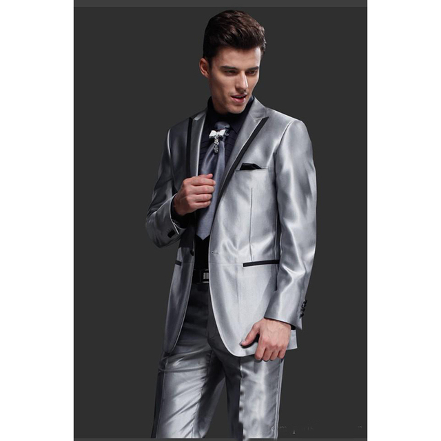 New Shiny Sliver Gray Mens Wedding Suits For Men Peaked Lapel Groom Tuxedos Two Piece Prom