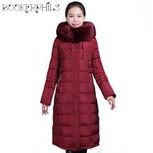 6XL X-ロング冬の女性のジャケット女性綿パッド入りのコート プラスサイズ 女性パーカーフード付きビッグ毛皮襟冬のジャケットの女性