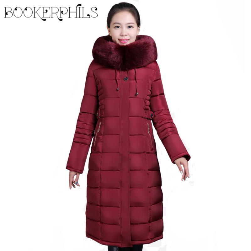 Plus Size 6XL X-Long Winter Women's Jacket Female Cotton Padded Coat 2018 Woman Parka Hooded Big Fur Collar Winter Jacket Women