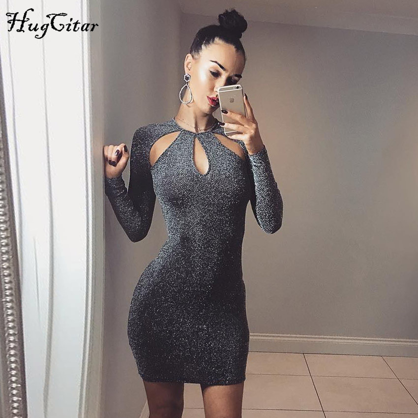 Hugcitar long sleeve hole hollow out O-neck bodycon sexy mini dress 2017 winter women solid fashion party dresses
