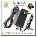 29.4V3A cargador 29.4 v 3A cargador de batería de litio bicicleta eléctrica para 7 series 24 V batería de litio RCA enchufe