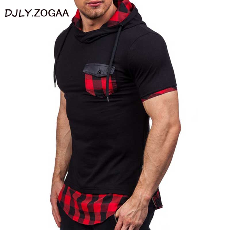 2019 New Fashion Men Hoodies Hip Hop Mens Patchwork Collar Pullover Short Sleeve Hoodie Sweatshirt Slim Fit Men