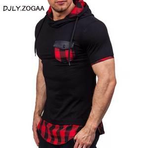 2018 New Fashion Men Hoodies Hip Hop Mens Patchwork Collar Pullover Short Sleeve Hoodie Sweatshirt Slim Fit Men