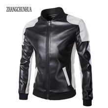 ZHANGCHUNHUA 2017 New Leather Jacket mens Fashion Black And White Splicing Bomber Jacket Men Casual Jackets Plus Size M-5XL