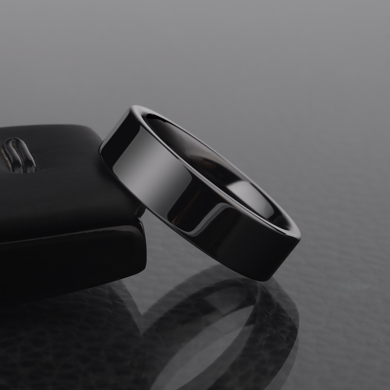 High Quality 4mm6mm Polished Black Ceramic Rings For Men Women