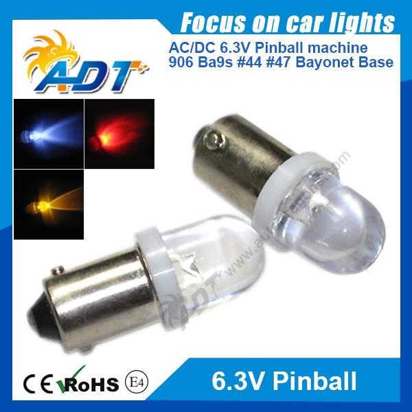 100pcs Clear Lens Cap Super bright Ba9s #44 #47 AC 6.3V Bayonet pinball led bulbs for pinball game machine parts Non flicking