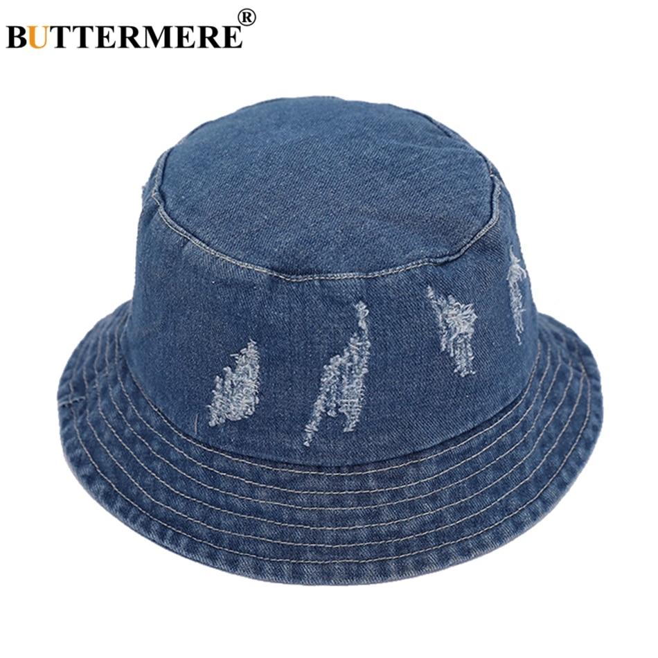 BUTTERMERE Seau Chapeaux Jeans Pour Femmes Coton Denim Unisexe Seau Caps  Plage À La Mode Classique Vintage De Pêche Chapeau Et Casquettes 78b601e9d80
