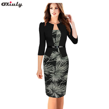 Oxiuly Oxiuly One-piece Faux Jacket Brief Elegant Patterns Work dress Office Bodycon Female 3/4 Sleeve Sheath Dress