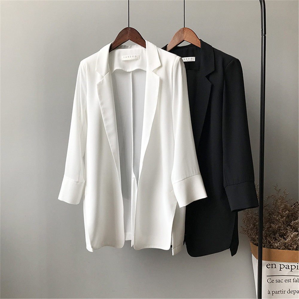 Summer Women Office Thin Suit 2019 Small Long Sleeve Chiffon Suit Jacket Women`s Autumn Work Blazer Suit All Match Suit Y0506 (1)