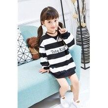 Girls Hoodies Sweatshirts Loose Long Sweater New Autumn Baby Girls Blouse Strip Fashion Kids Sweatshirts Children Clothing G254