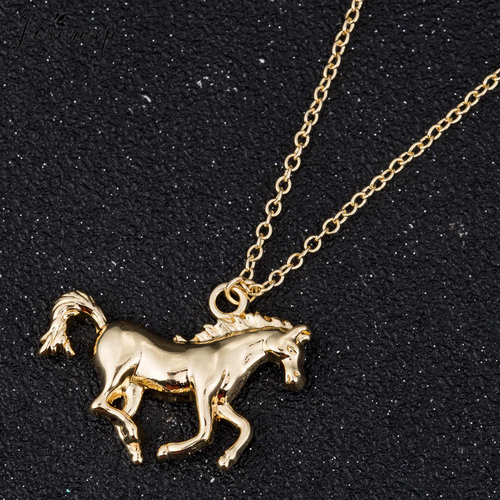 Jisensp 2019 New Arrival Swift koń wisiorek naszyjnik moda biżuteria dla kobiet mężczyzn szczęście do biegania koń długi łańcuszek na szyję na prezent
