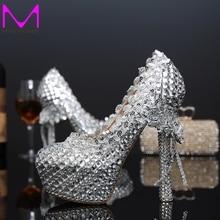 Mode Silber Frau Plattform Schuhe Kristall High Heels Schuhe Schöne strass Runde Toe dame Partei Proms Plus Größe 34-43