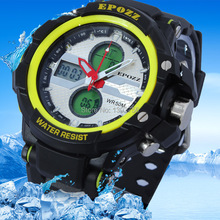2015 Epozz Relojes Де Marca Спортивные Часы Мужчины Двойной Дисплей Ежедневно Водонепроницаемый Сигнализация Секундомер Военные Наручные Часы