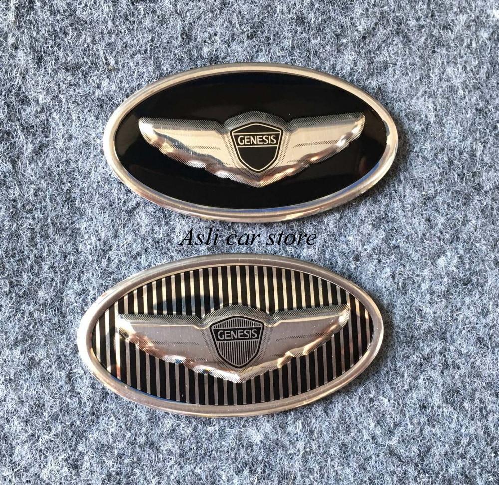 2 PCS Wing Hood Front//Tail Trunk Emblem SET Tracking for Hyundai GENESIS V8 V6