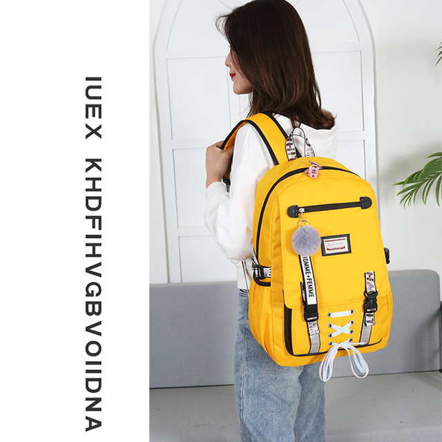 Anti Theft Large School Backpack Bags With Lock For Teenage Girls USB Women Book  Big High Youth Leisure College 3