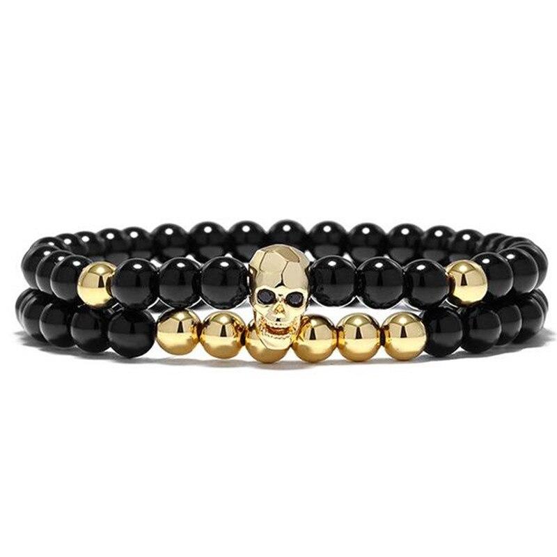 DIEZI One Sets 6mm negro energía Yoga calavera encanto pulsera para hombres mujeres piedras naturales budista hebra pulseras joyería 5