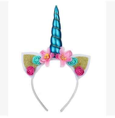 2018 ใหม่น่ารักเด็กผู้หญิงดอกไม้หวานยูนิคอร์นฮอร์นผมวง Headband วันเกิดดอกไม้ Headwear Crown
