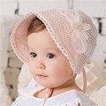 2017 nova primavera verão da menina do bebê chapéus de flores sólida palácio crianças ajustáveis cap newborn fotografia props chapéu de sol para bebe