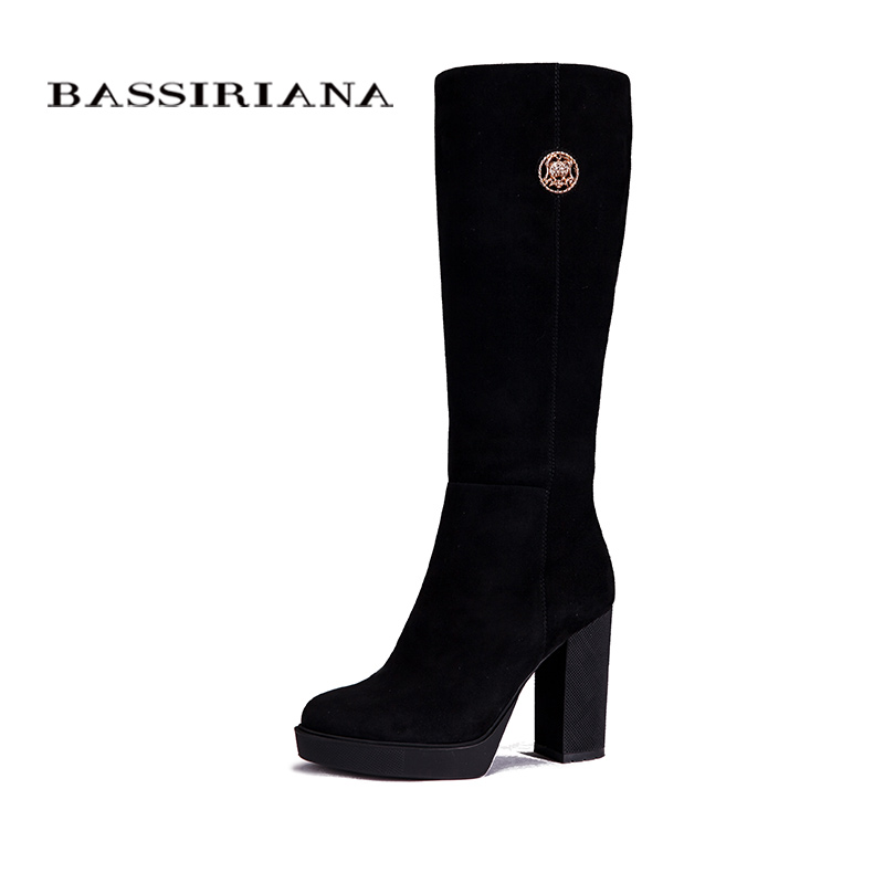 Genuine suede leather winter boots Shoes woman Black basic Round Toe 35-40 size Free shipping BASSIRIANA цены онлайн