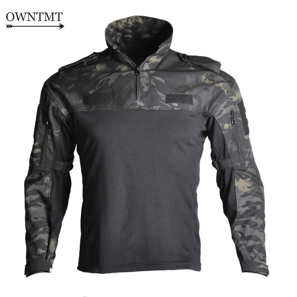 Pria Militer Taktis T-shirt Lengan Panjang Tentara Memukul Bernapas Cepat Kering Tempur T Shirt Airsoft Pakaian Pria US Army kemeja