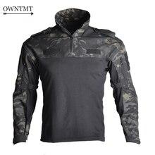 """גברים צבאי טקטי חולצה ארוך שרוול SWAT חיילים לנשימה מהיר יבש Combat T חולצה Airsoft בגדי איש של צבא ארה""""ב חולצות"""
