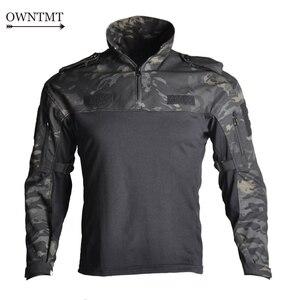 "Image 1 - גברים צבאי טקטי חולצה ארוך שרוול SWAT חיילים לנשימה מהיר יבש Combat T חולצה Airsoft בגדי איש של צבא ארה""ב חולצות"