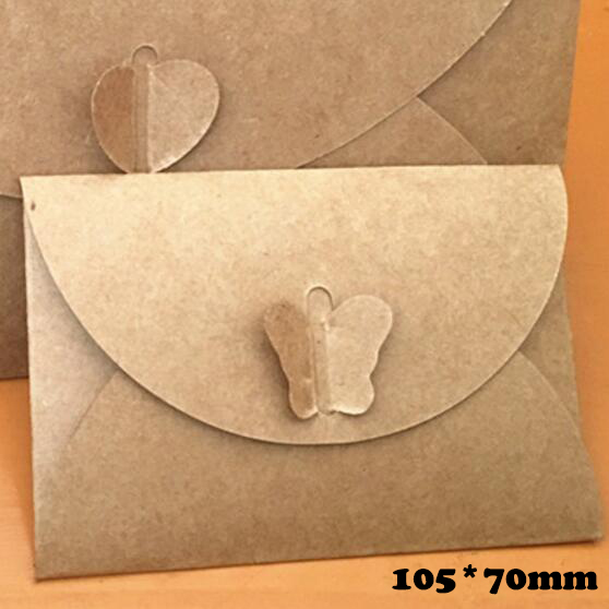 50pcslot Colored Butterfly Buckle Kraft Paper Envelopes Simple
