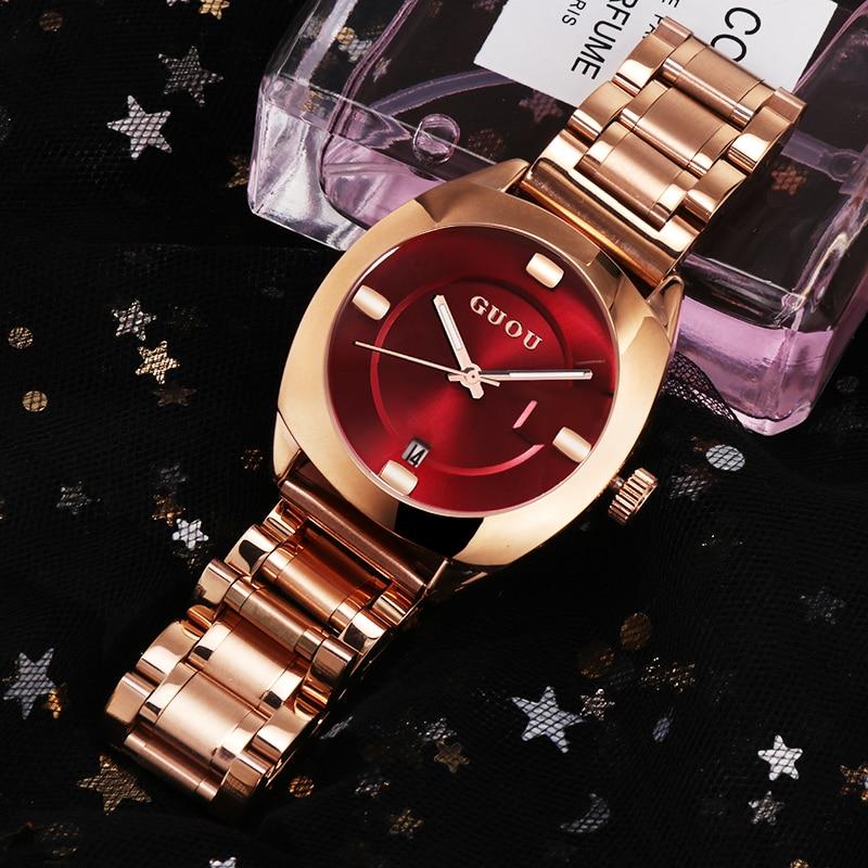 GUOU Luxury Stainless Steel Watch Women Watches Fashion Rose Gold Watch Auto Date Women's Watch Clock zegarek damski reloj mujer цена
