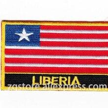 Вышивка Нашивки Национальный флаг Либерия флаг Нашивки гладить на 8.0x5.0 см пользовательские Нашивки