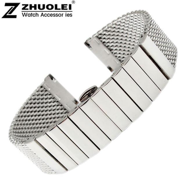 20 mm 22 mm aço inoxidável relógio tubarão malha pulseira de relógio pulseira