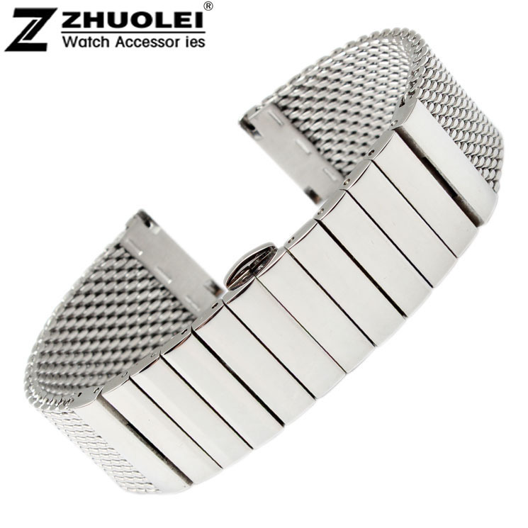 Watch Strap 20mm 22mm Stainless Steel SHARK mesh bracelet Diving Watch new wristband Free Shipping все цены