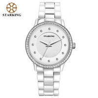 STARKING Ceramic Geneva Women Wrist Watch Stylish Diamond Ladies Bracelet Watches Crystal Rhinestone Official Female Watch