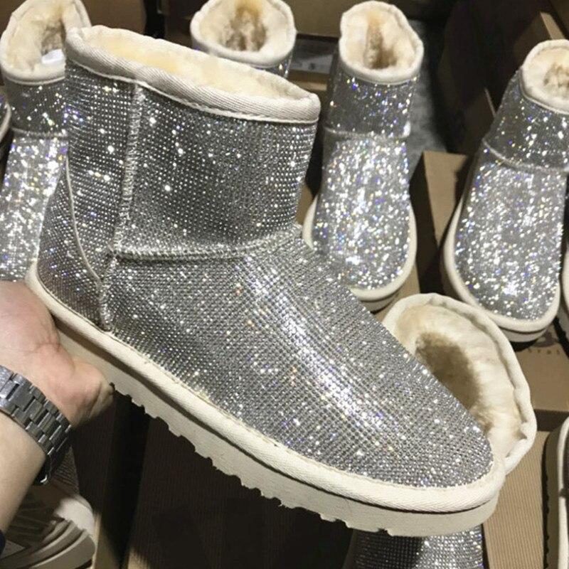 Bottes d'hiver en strass femmes chaussures chaudes bottines en peluche femmes avec plate forme de fourrure bottes de neige chaussures en peau de mouton australie-in Bottes de neige from Chaussures    2
