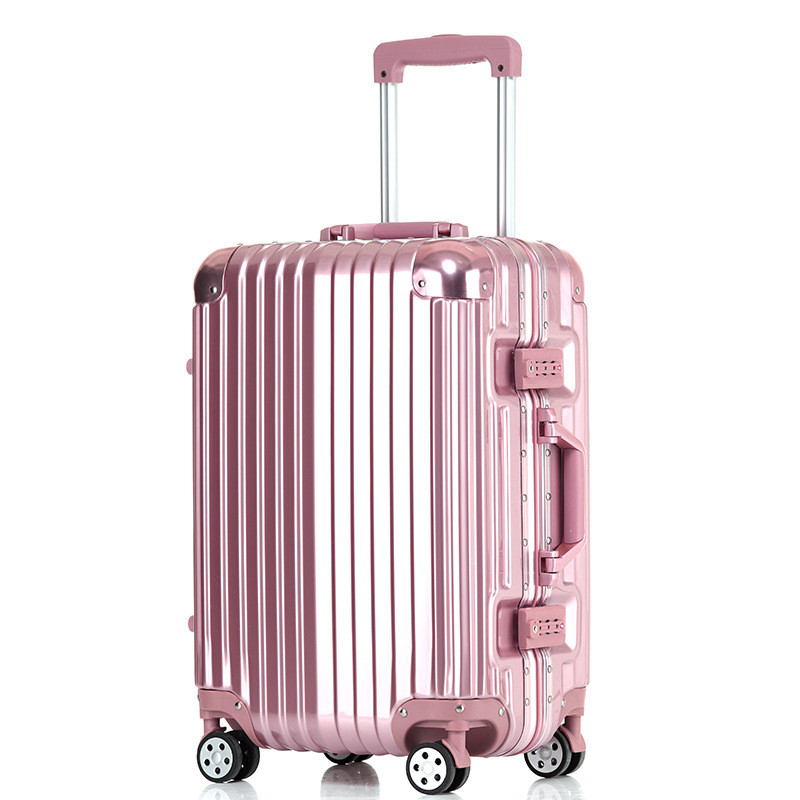 20/24/26/29 inches pink aluminum frame stick box fashion new trunk universal wheel luggage suitcase card 802