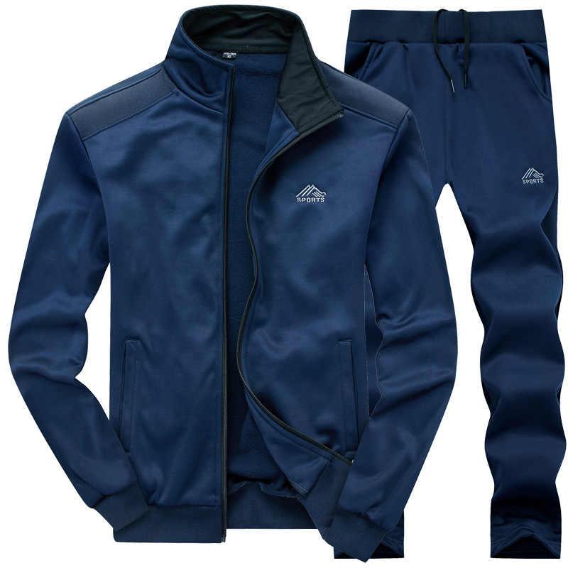 Мужской спортивный костюм с брюками, синий комплект одежды для спортзала из толстой флисовой ткани, повседневная одежда для тренировок, для осени, 2019