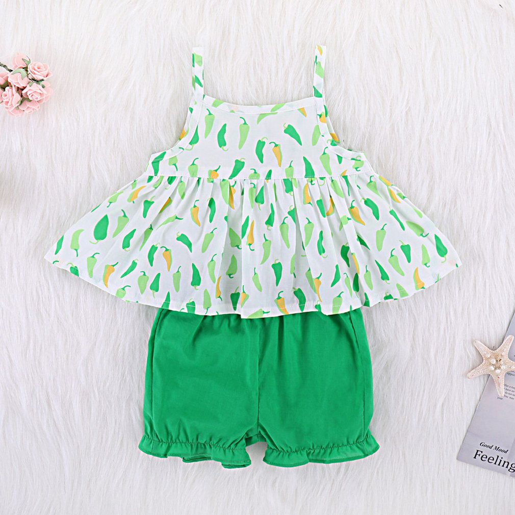 2pcs sets 2018 Summer Cute Casual Toddler Babys Girl Sleeveless Sling Ruffles T-Shirt Top + Shorts Children Outfit Clothes Set