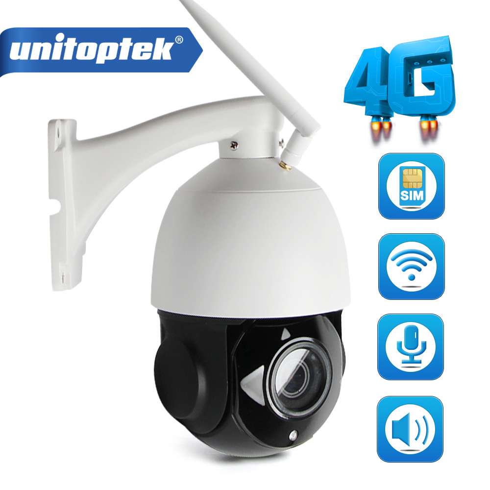 UNITOPTEK HD 1080P 4G WIFI Camera CCTV Phone SIM Card PTZ Speed Dome Wireless IR Outdoor 4X 18X Optical Zoom SD Card Audio аксессуары для видеонаблюдения unitoptek cctv hikvision cab 08